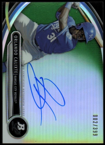 Photo of 2013 Bowman Platinum Prospect Autographs Green Refractors #OC Orlando Calixte