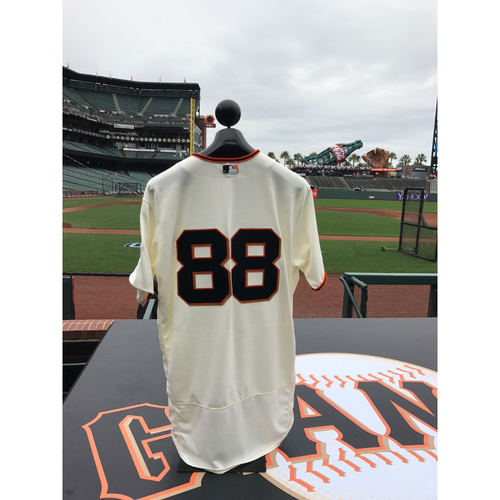 Photo of San Francisco Giants - Home Opening Day Jersey - Game Used - Eli Whiteside #88