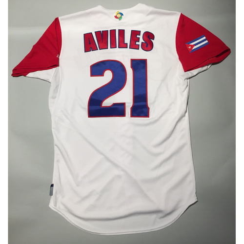 Photo of 2017 WBC: Cuba Game-Used Home Jersey, Aviles #21