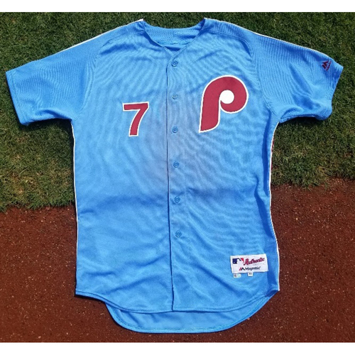 Photo of 2017 Game-Used Retro Road Maikel Franco Jersey (4-hits)