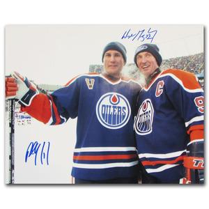 Paul Coffey & Wayne Gretzky Autographed Edmonton Oilers Heritage Classic 16X20 Photo