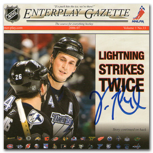 Vincent Lecavalier Autographed Tampa Bay Lightning 2008 Enterplay Gazette 3.5X3.5 (Los Angeles Kings)