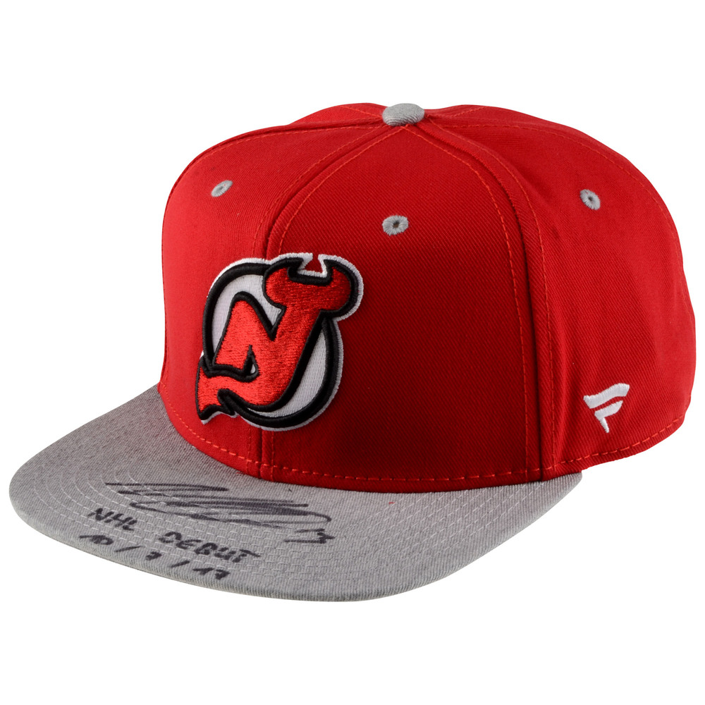 Nico Hischier New Jersey Devils Autographed Cap with NHL Debut 10/7/17 Inscription - #13 of a L.E. of 13