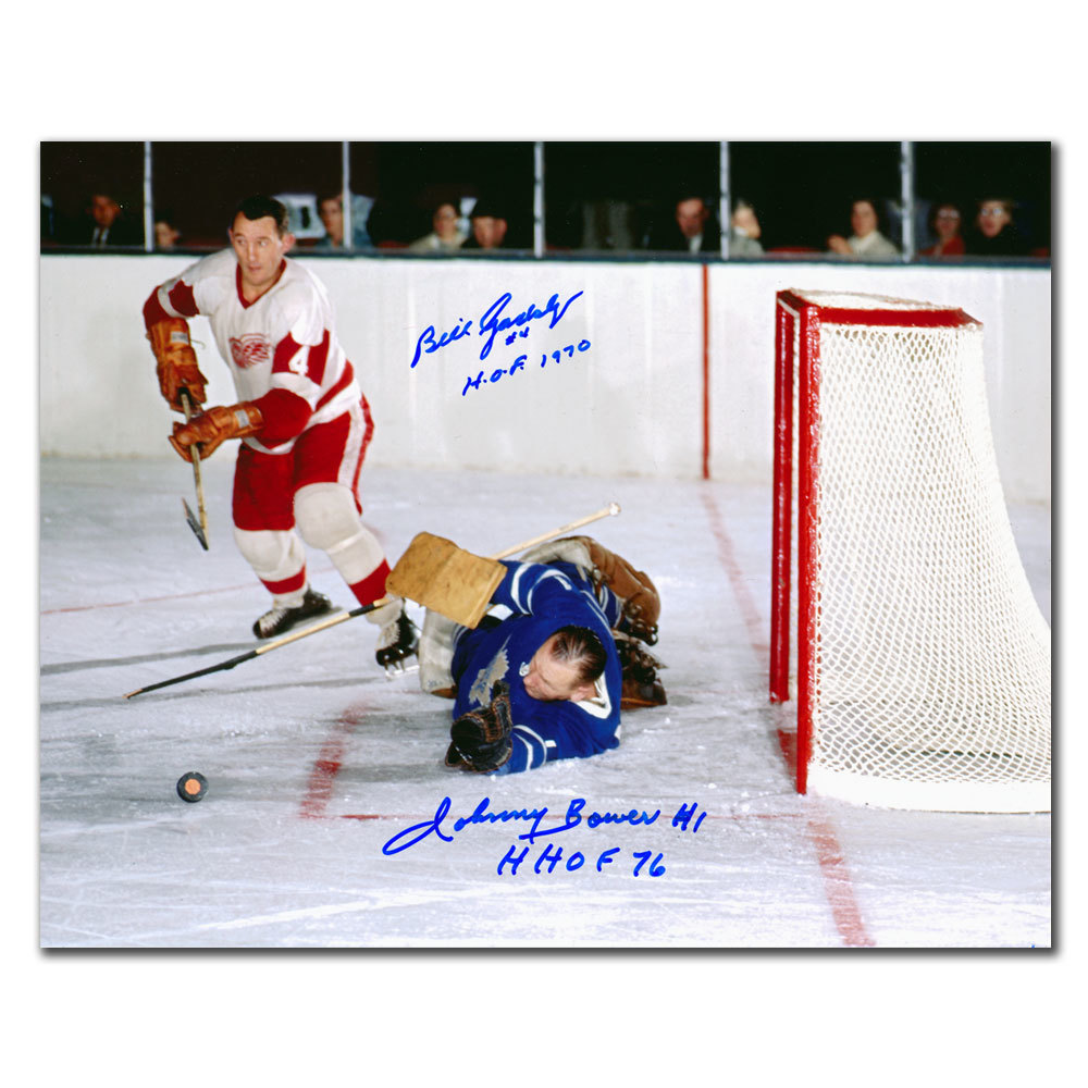 Johnny Bower Leafs vs. Bill Gadsby Red Wings Dual Autographed 8x10