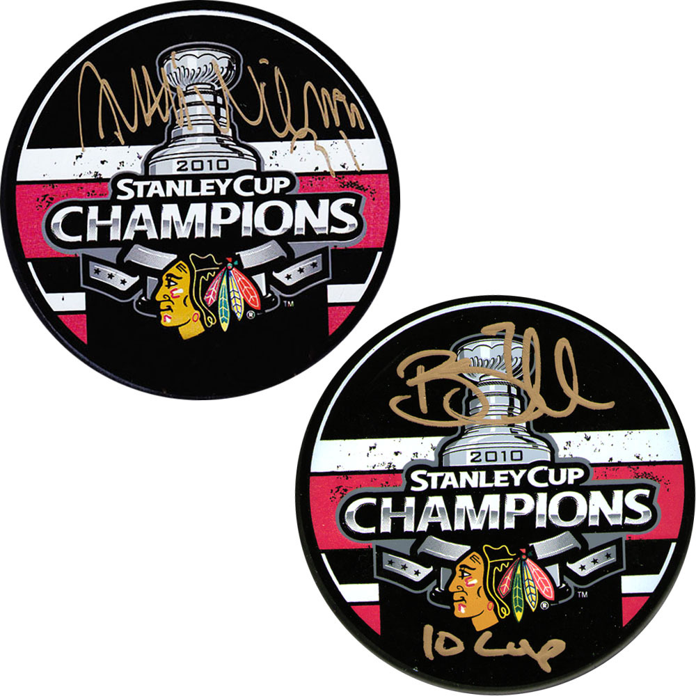 Antti Niemi & Brent Seabrook Autographed Chicago Blackhawks Stanley Cup Puck Combo
