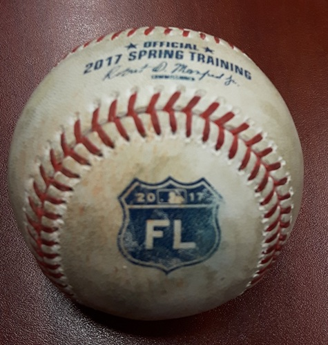 Photo of Authenticated Game Used Baseball - Jameson Taillon to Russell Martin pitch in dirt. Montreal Spring Training. (Canadian pitcher to Canadian batter)