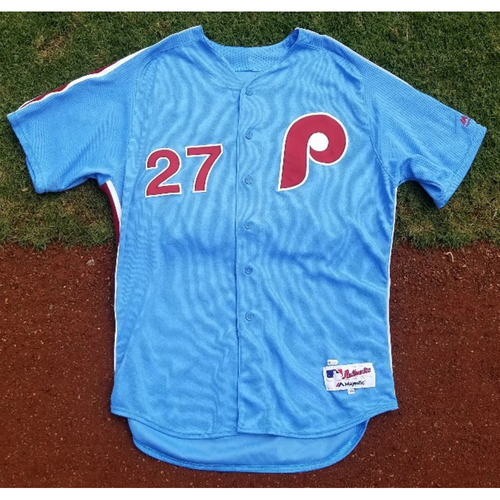 Photo of 2017 Game-Used Retro Road Aaron Nola Jersey