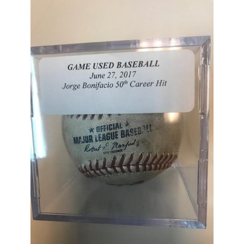 Photo of Game-Used Baseball: Jorge Bonifacio 50th Career Hit Single