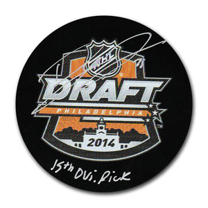 Dylan Larkin Autographed 2014 NHL Entry Draft Puck w/Inscription (Detroit Red Wings)