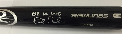 "Photo of Kirk Gibson Autographed ""88 NL MVP"" Black Rawlings Pro Bat"