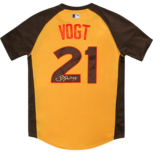 Photo of Steven Vogt 2016 Major League Baseball Workout Day/Home Run Derby Autographed Jersey