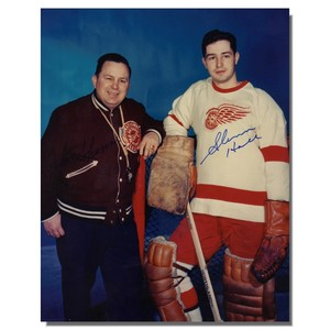 Glenn Hall and Jimmy Skinner (deceased) Autographed Detroit Red Wings 8x10 Photo