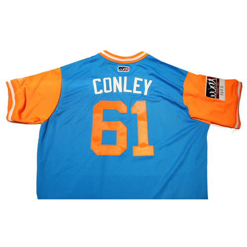 "Photo of Adam ""Conley"" Conley Miami Marlins Game-Used Players Weekend Jersey"