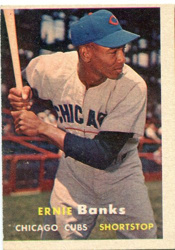 Photo of 1957 Topps #55 Ernie Banks -- Cubs Hall of Famer