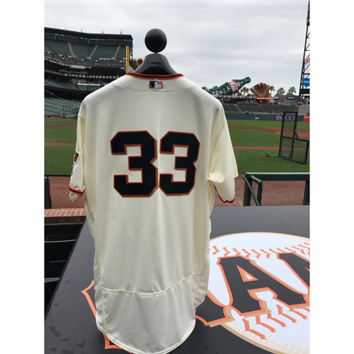 Photo of San Francisco Giants - Home Opening Day Jersey - Game Used - Steve Decker #33