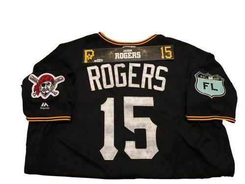 Photo of Jason Rogers Team-Issued Spring Training Jersey and Game-Used Locker Name Plate