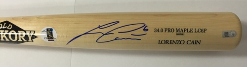 Photo of Lorenzo Cain Autographed Game Model Old Hickory Bat
