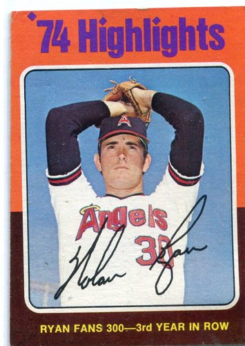 Photo of 1975 Topps #5 Nolan Ryan Fans 300 for/3rd Year in a Row
