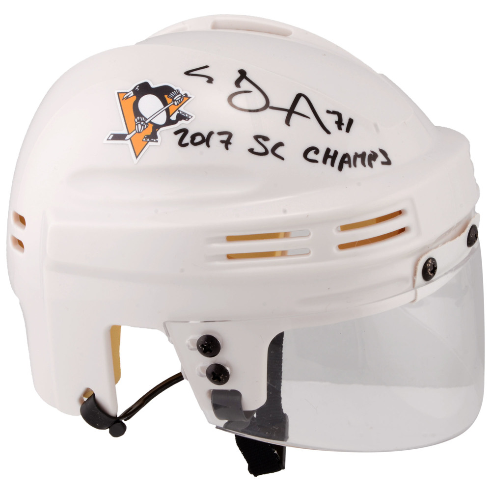 Evgeni Malkin Pittsburgh Penguins Autographed White Mini Helmet with 2017 SC Champs