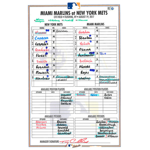 Photo of Game Used Lineup Card - Montero Start; Earns 3rd Career Win - Mets vs. Marlins - 8/19/17