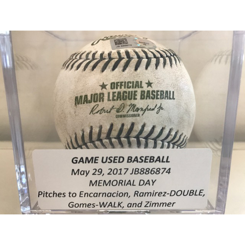 Photo of Game-Used Baseball: Memorial Day, Pitches to Encarnacion, Ramirez (Double), Gomes (Walk), and Zimmer