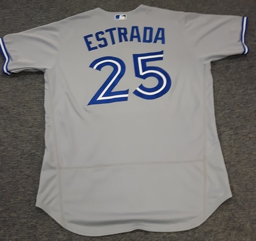 Photo of Authenticated Game Used Jersey - #25 Marco Estrada (April 6, 2017). Size 46.