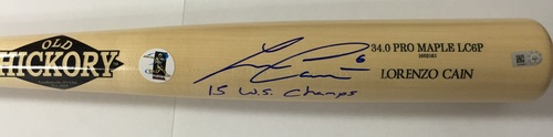 "Photo of Lorenzo Cain Autographed ""15 WS Champs"" Game Model Old Hickory Bat"