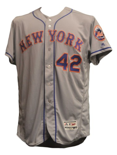Photo of Noah Syndergaard #34 - Game Used Road Grey Jackie Robinson Jersey - Mets vs. Indians - 4/15/16