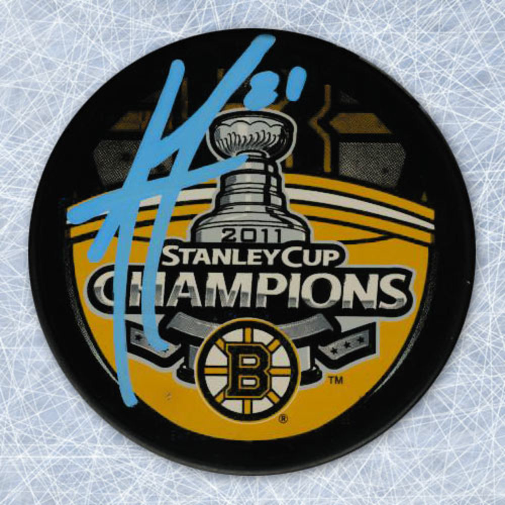 ANDREW FERENCE Autographed Boston Bruins 2011 Stanley Cup Champions Puck
