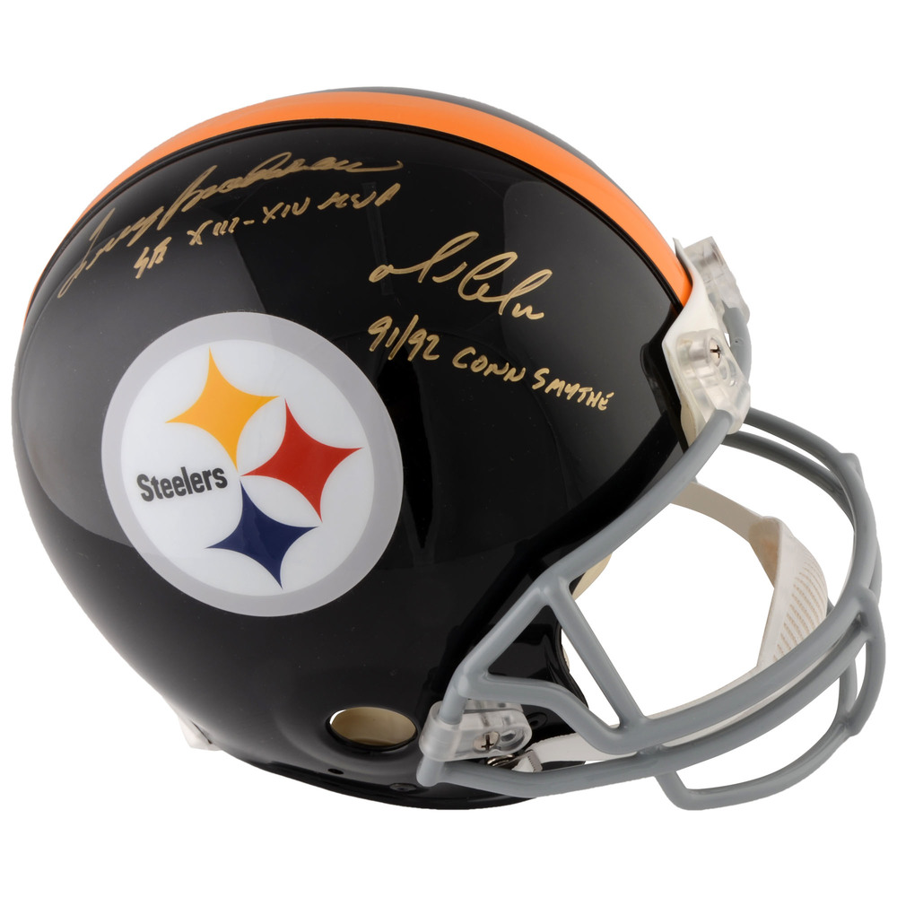 Mario Lemieux and Terry Bradshaw Autographed Pittsburgh Steelers Pro-Line Helmet with Multiple Inscriptions