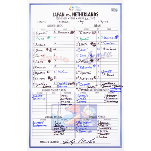 Photo of 2013 WBC: Round 2 - Netherlands vs. Japan Game-Used Line-up Card