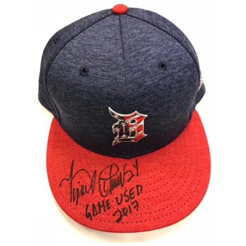 Photo of Autographed Game-Used Miguel Cabrera Stars & Stripes Cap
