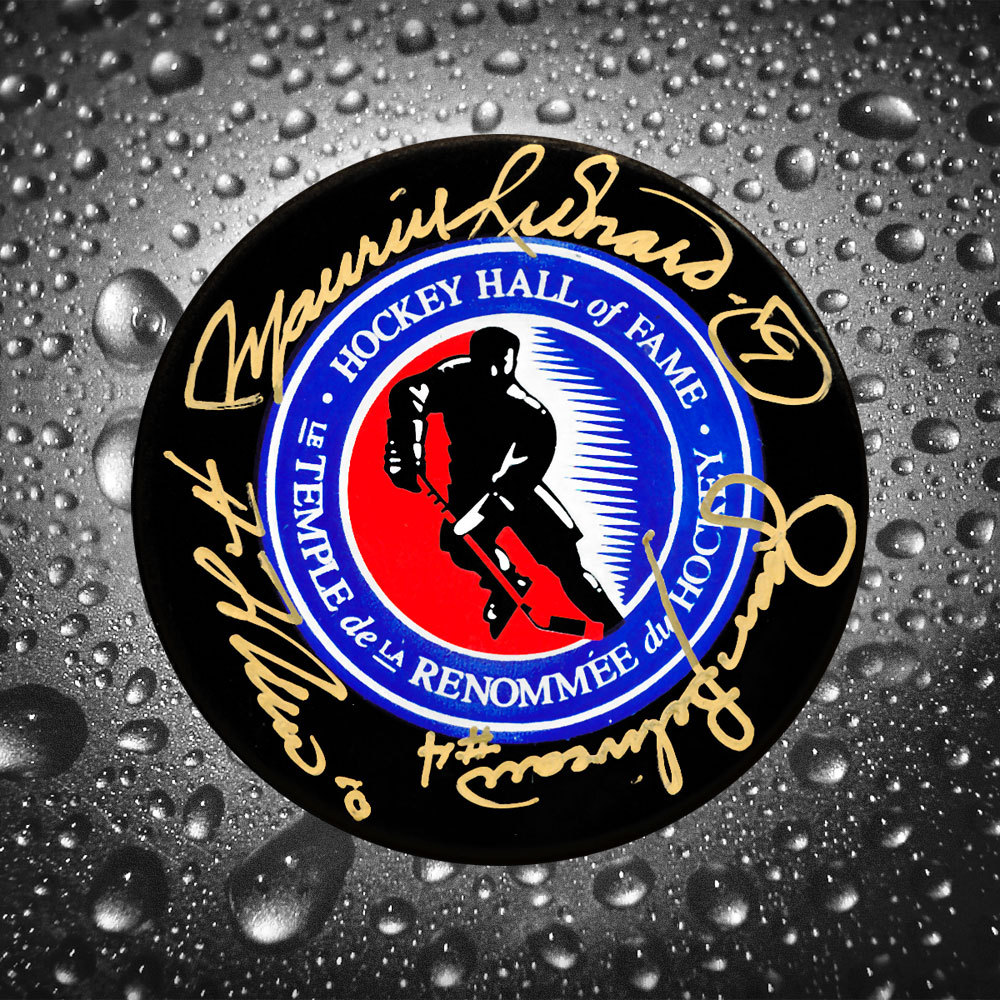 Maurice Richard, Guy Lafleur & Jean Beliveau Hall of Fame Autographed Puck