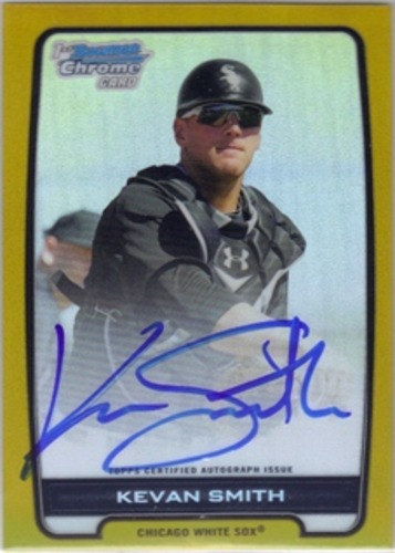 Photo of 2012 Bowman Chrome Prospect Autographs Gold Refractors #KS Kevan Smith