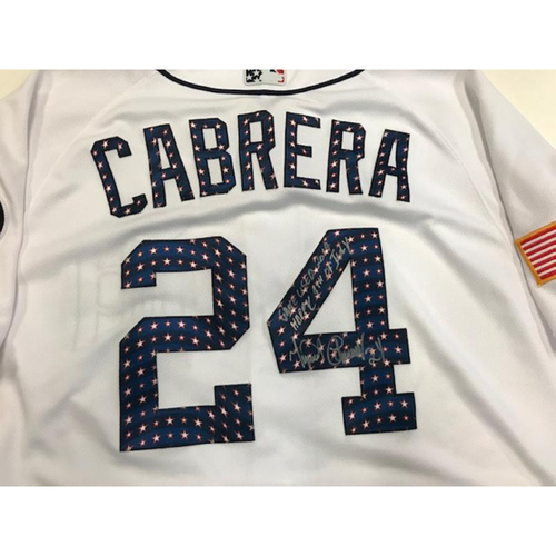 Photo of Autographed Game-Used Miguel Cabrera Stars & Stripes Jersey: 457th Career Home Run