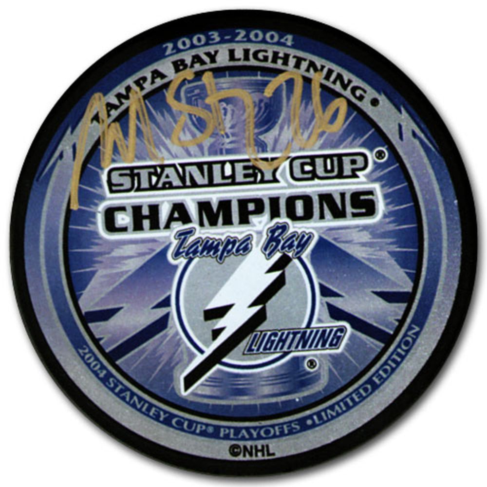 Martin St. Louis Autographed 2004 Tampa Bay Lightning Stanley Cup Champions Puck
