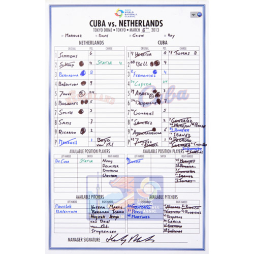 Photo of 2013 WBC: Round 2 - Netherlands vs. Cuba Game-Used Line-up Card