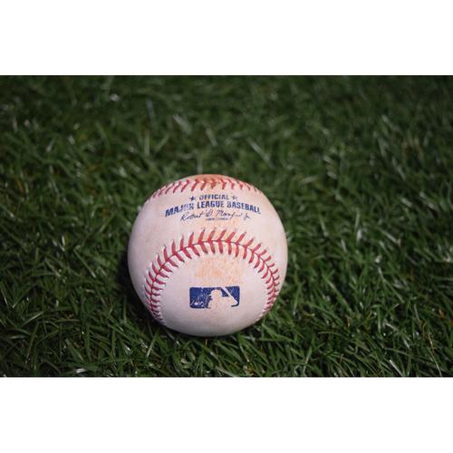 Photo of Game-Used Baseball: Edwin Encarnacion single off Chris Archer - 8/12/17 TBTC Night v CLE