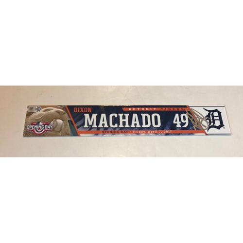 Photo of Autographed Game-Used Locker Name Plate: Dixon Machado