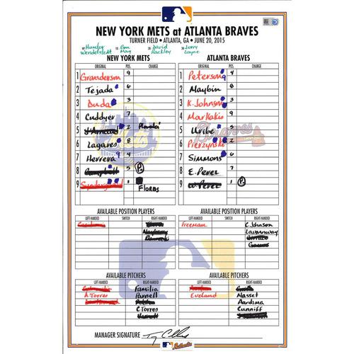 Photo of Game Used Lineup Card - Granderson & d'Arnaud Hit HR's, d'Arnaud 3 RBI's - Mets vs. Braves - 6/20/15