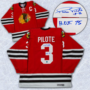 Pierre Pilote Chicago Blackhawks Autographed Retro CCM Hockey Jersey