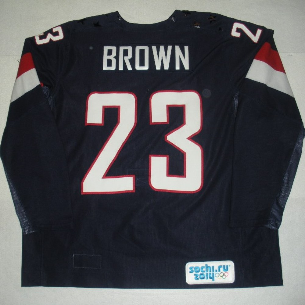 Dustin Brown - Sochi 2014 - Winter Olympic Games - Team USA Blue Game-Worn Jersey - Bronze Medal Game vs. Finland, 2/22/14
