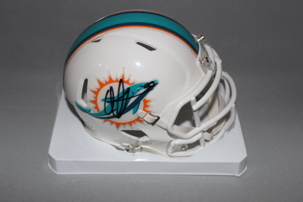 DOLPHINS - OLIVIER VERNON SIGNED DOLPHINS 50TH ANNIVERSARY MINI HELMET