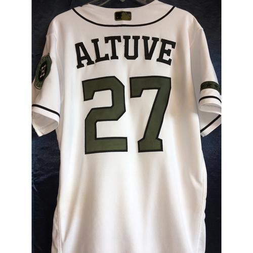 Photo of Jose Altuve Game-Used Memorial Day Camo Jersey