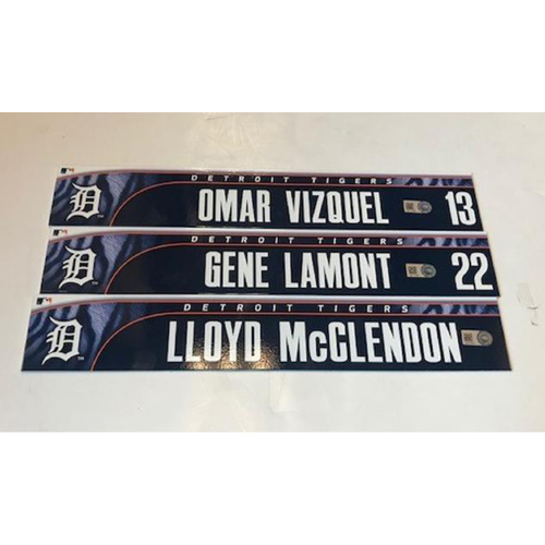 Photo of Team-Issued Locker Name Plates: Omar Vizquel, Lloyd McClendon and Gene Lamont