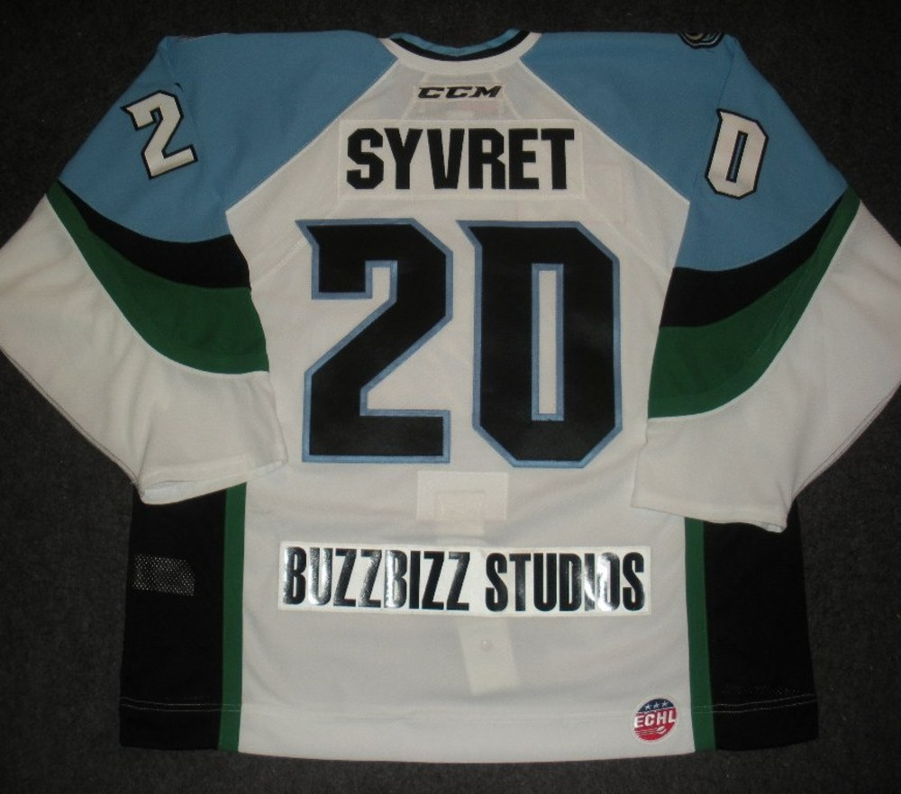 Corey Syvret - 2014 Kelly Cup Finals - Alaska Aces - White Game-Worn Jersey - Games 1 & 2
