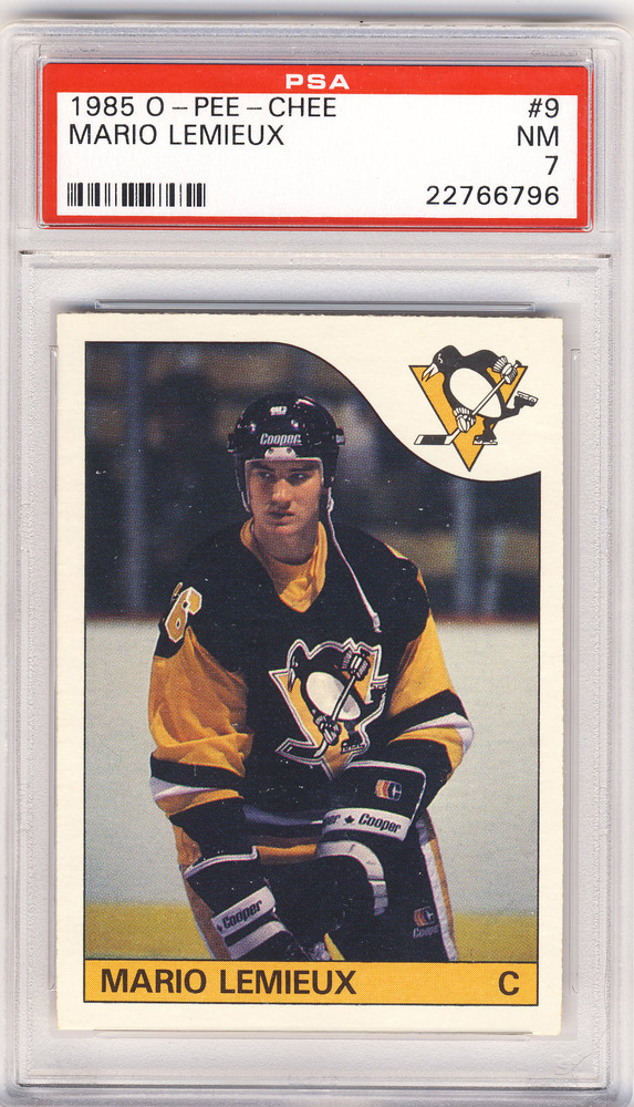 1985 OPC #9 MARIO LEMIEUX Pittsburgh Penguins Graded Rookie Card - NM PSA 7