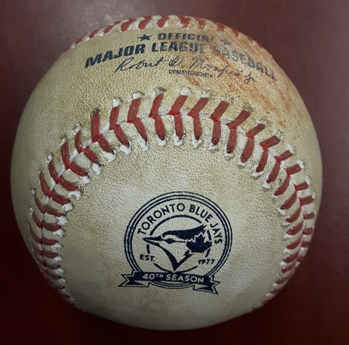 Photo of Authenticated Game Used Baseball - Ryan Goins pitched baseball from Canada Day 2016. His 1st MLB Pitching Appearance.