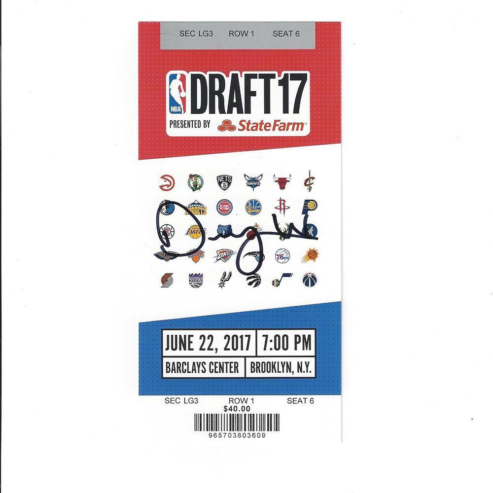 DJ Wilson - Milwaukee Bucks - 2017 NBA Draft - Autographed Draft Ticket