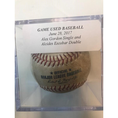 Photo of Game-Used Baseball: Alex Gordon Single & Alcides Escobar Double